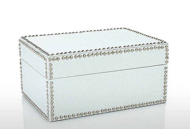 Nailhead Medium Box, Ice modern storage boxes