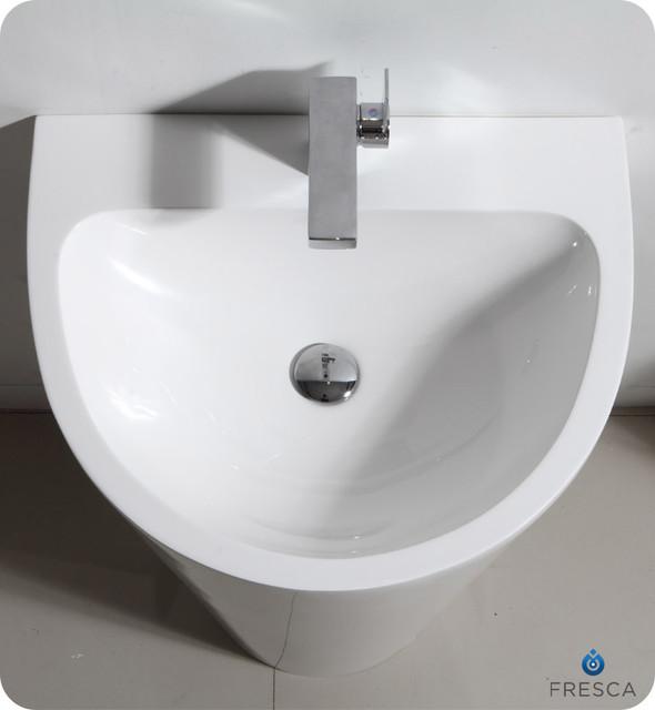 """24"""" Parma Pedestal Sink Modern Bathroom Vanity (FVN5023WH) modern"""