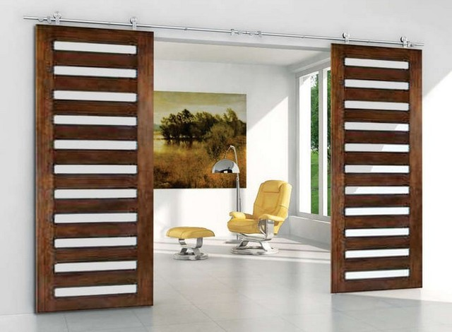 Modern double sliding barn door hardware for double for Double sliding doors