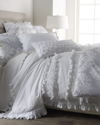 India Rose White Ruffle Bed Linens King Ruffled Duvet Cover, 104 x 86 traditional duvet covers