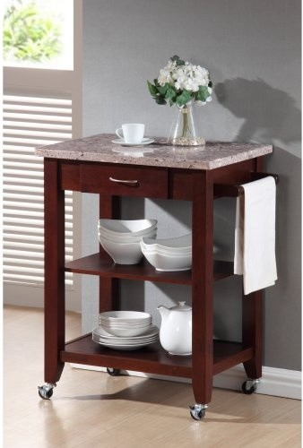 Farron Kitchen Cart With Granite Top traditional-kitchen-islands-and-kitchen-carts