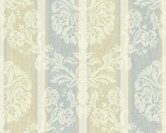 Blue Highlighted Woven Damask Stripe Vibe Wallpaper -