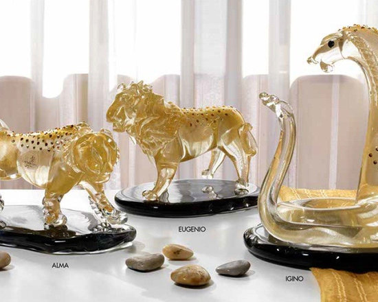 Murano Glass Sculptures and Figurines - Murano Glass swaorvski crystal and 24 carat gold infused clear glass figures.  Price is for the Cobra.  Please contact us for pricing on any other pieces displayed - COA and made to order.  More available so please contact us