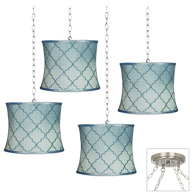 Contemporary Blue Moroccan 4 Light Brushed Steel Multi