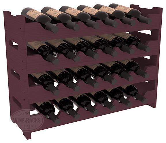 24 Bottle Mini Scalloped Wine Rack in Pine, Burgundy Stain contemporary-wine-racks