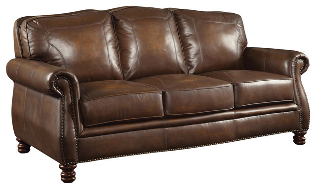 Brown leather sofa with nailheads traditional sofas for Traditional brown leather couch