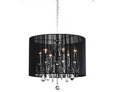 Chrome and Black 6-light Crystal Chandelier | Overstock.com  chandeliers