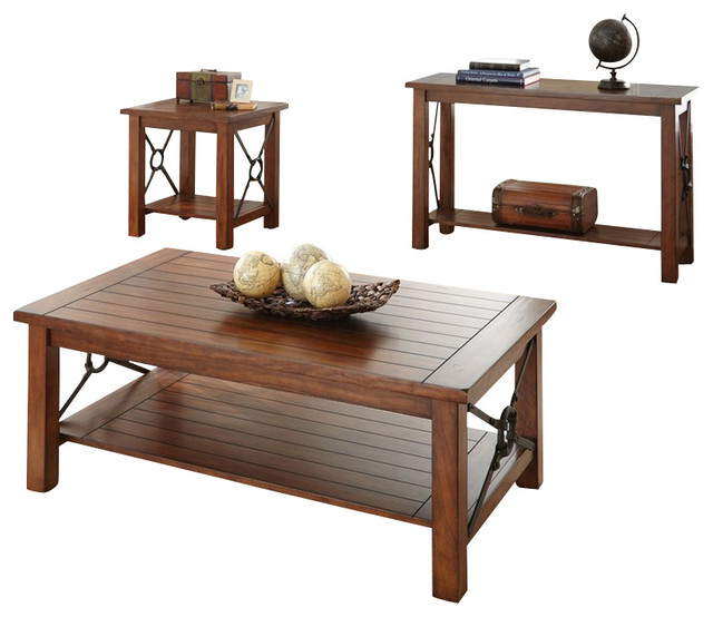 steve silver company rosewood 3 piece cocktail table set in chestnut rustic coffee table sets. Black Bedroom Furniture Sets. Home Design Ideas