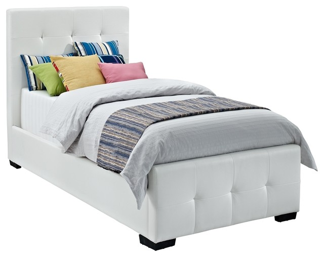 Dhp Florence White Upholstered Twin Bed Contemporary Kids Beds