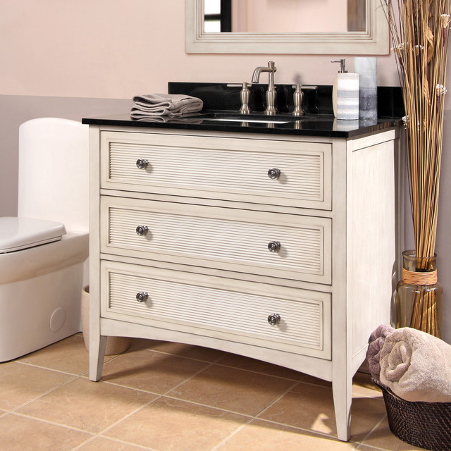 Bernay Vanity In Antique White Contemporary Bathroom Vanity Units S