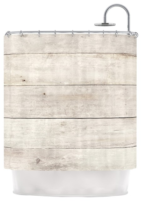 Susan Sanders White Wash Wood Beige White Shower Curtain