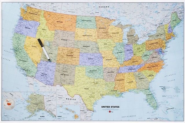 Dry Erase US Map - Paper Source - Eclectic - Desk Accessories - by Paper Source