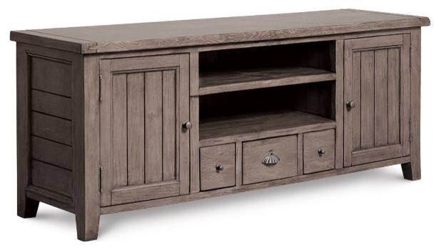 Coastal Solid Wood TV Media Console - beach style - media storage