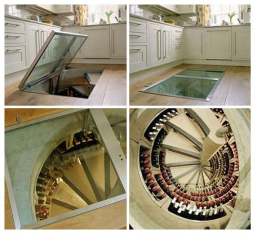a wine cellar underneath the kitchen floor yes please awesome wine cellar