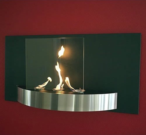 Vivo Wall Mounted Fireplace Tempered Clear Glass Black Heat Resistant And Brushe Contemporary