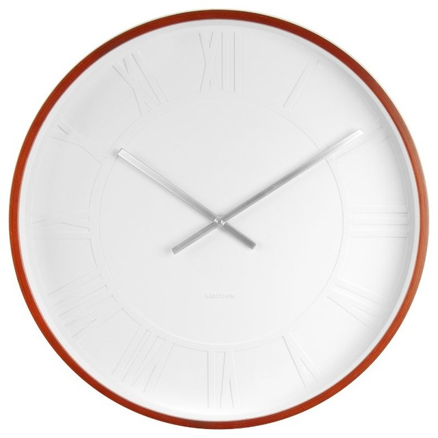 Wood Finish Mr White Roman Numeral Wall Clock Extra Large Modern Wall C