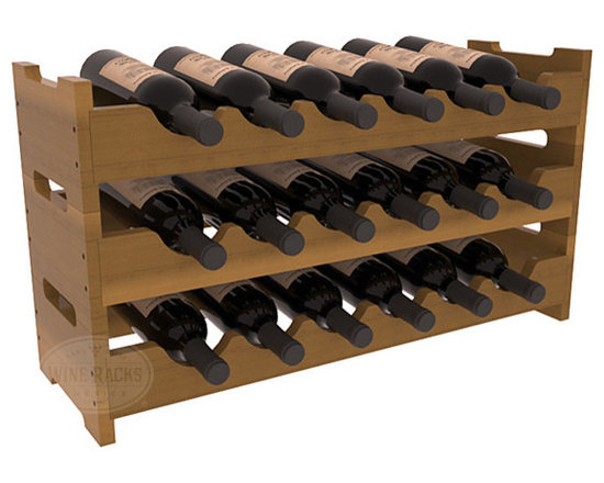 Wine Racks America - 18 Bottle Mini Scalloped Wine Rack in Redwood, Oak Stain + Satin Finish - Stack three 6 bottle racks with pressure-fit joints for proper storage of 18 wine bottles. This rack requires no hardware for assembly and is ready to use as soon as it arrives. Makes the perfect gift and stores wine on any flat surface.