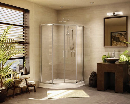 "Fleurco Banyo Amalfi Neo 38"" x 38"" Frameless Neo Angle Sliding Shower Doors EAN3 - Deluxe anti-jump smooth rolling system"