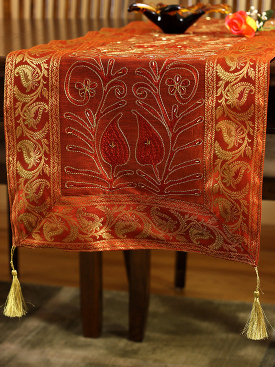 """Elegant Table Runners - Dazzling Orange """"Ornamental Embroidered"""" table runner. Hand crafted in India. Great complement to any table top."""
