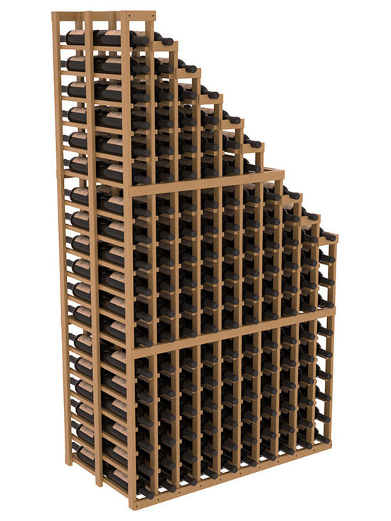 Double Deep Wine Cellar Waterfall Display Kit in Pine with Oak Stain + Satin Fin - The same beautiful cascading waterfall but in a double deep capacity. Displays 18 choice vintages in a tiered fashion. Designed within our modular specifications and to Wine Racks America's superior product standards, you'll be satisfied. We guarantee it.
