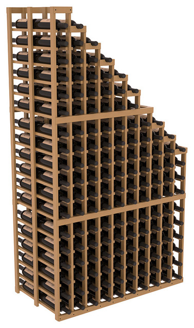 Double Deep Wine Cellar Waterfall Display Kit in Pine with Oak Stain + Satin Fin contemporary-wine-racks