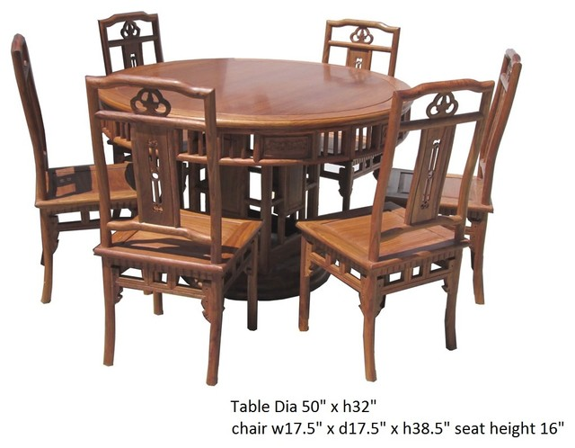 Chinese asian rosewood round dining table 6 chairs set for Round dining room table sets for 6