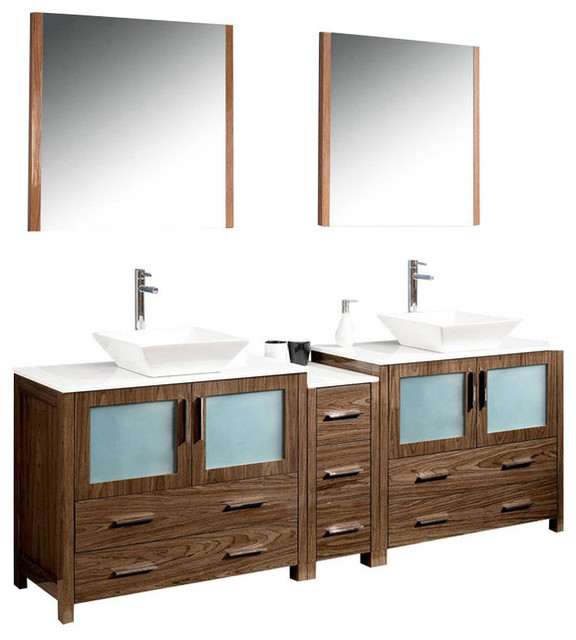 84 Inch Double Sink Bathroom Vanity In Espresso Walnut Brown White Ceramic Contemporary