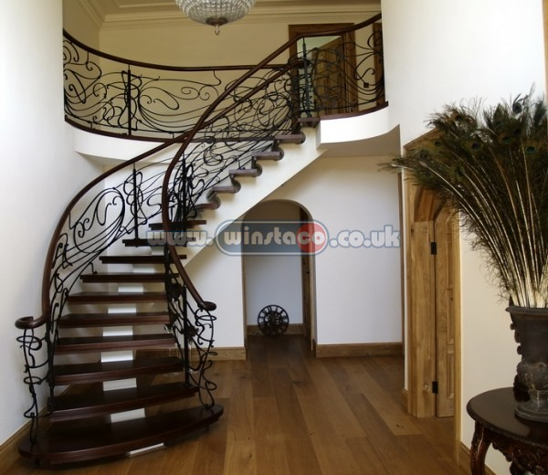 Bespoke Curved Staircase Wrought Iron Balustrade
