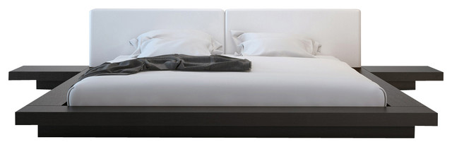 Worth Bed, King, Wenge/White Leather, King modern-beds