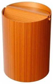 Lidded Teak Waste Basket modern waste baskets