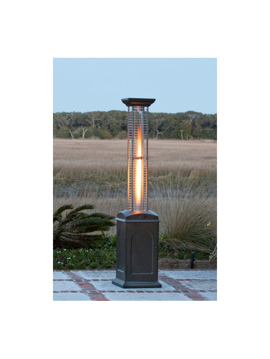 Fire Sense Mocha Finish Square Flame Patio Heater - The Fire Sense Mocha Finish Square Flame Patio Heater uses propane to produce a gorgeous and usable flame. -Mantels Direct