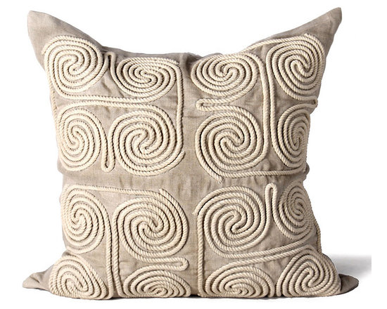 Kathy Kuo Home - Stow Coastal Beach Natural Swirl Square Pillow - Hand embroidered pillows in linen and silk are sumptuously oversized and generously filled with down and feathers - tossed on a bed or a gathered on a sofa, create a lasting personal touch.