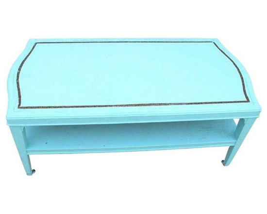 1960s Blue Leather Top Coffee Table - Dimensions 39.0ʺW × 20.0ʺD × 18.0ʺH