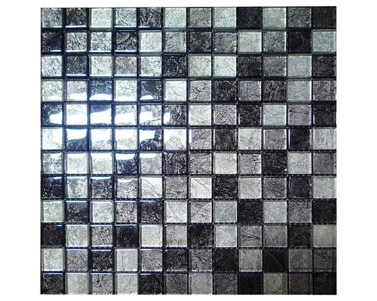 W25 Silver & Grey Foil Glass Mosaic - Silver & Grey Foil Glass Mosaic