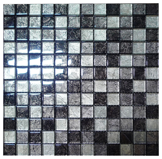 W25 Silver Amp Grey Foil Glass Mosaic Contemporary Tile