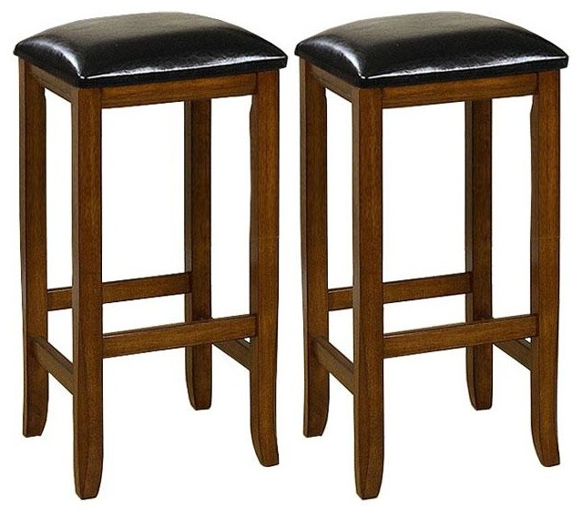 Mission-style 29-inch Oak Barstools (Set of 2) contemporary-bar-stools-and-counter-stools