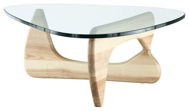 Modern Natural Wood And Triangle Glass Noguchi Inspired Coffee Table Midcentury Coffee