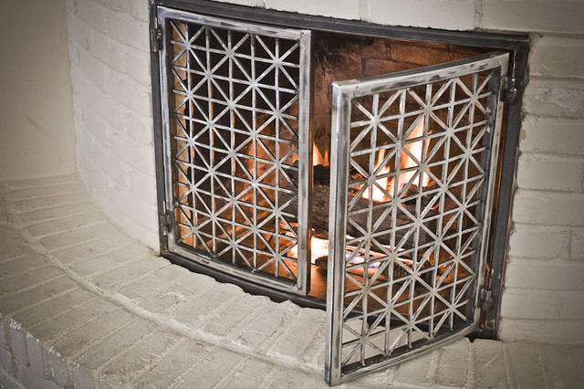 Fireplace doors contemporary indoor fireplaces austin by the manufactory llc - Houzz fireplace screens ...