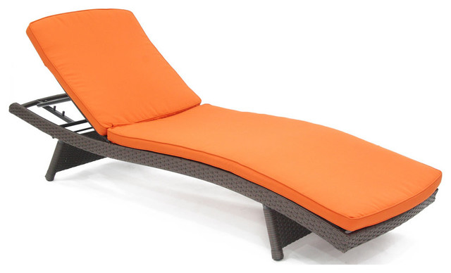 Wicker adjustable chaise lounger with brick orange cushion for Chaise longue orange