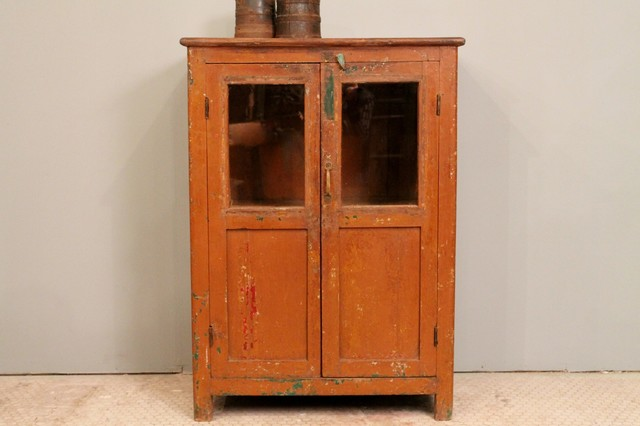 Vintage Distressed Paint Brown Rustic Storage Kitchen Bathroom Cabinet