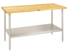 Maple Top Work Table with Galvanized Base and shelf  kitchen islands and kitchen carts