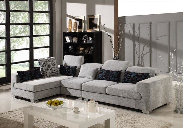 Capofila microfiber sectional set modern sectional for Modern sectional sofa in los angeles