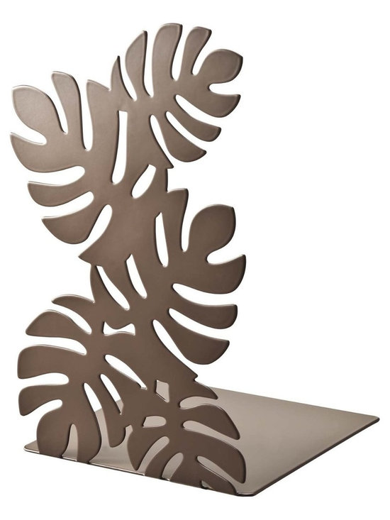 "Leaf - Pair of Metal Bookends with Cutout Leaf Pattern, 8"" Tall, Modern Home Dec -"