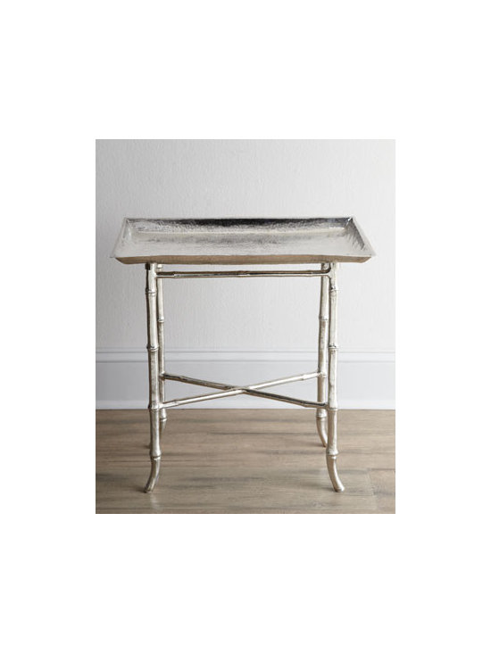 """Regina-Andrew Design - Regina-Andrew Design """"Mullicane"""" Tray Table - Petite tray table with bamboo legs and a shiny edge is your perfect companion for serving beverages and dessert. Made of metal. Polished-nickel finish. 22.75""""W x 12.75""""D x 23.5""""T. Imported. Boxed weight, approximately 22 lbs. Please note that thi..."""