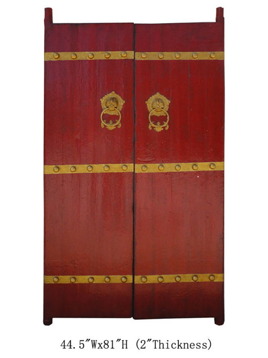 Huge Chinese Red Antique Hardware Foo Dog Deco House Entrance Gate Wall Panel -