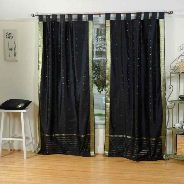 ... of Black Tab Top Sheer Sari Curtains, 43 X 108 In. traditional
