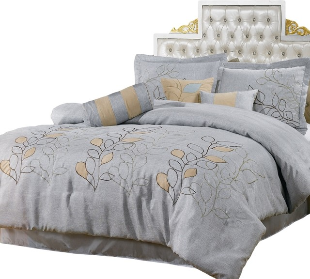 Silver Linen Oversized 11 Piece Bed In A Bag California