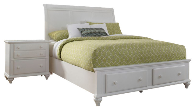 Broyhill Hayden Place Panel Storage Bed 2 Pc Bedroom Set in White transitional-beds