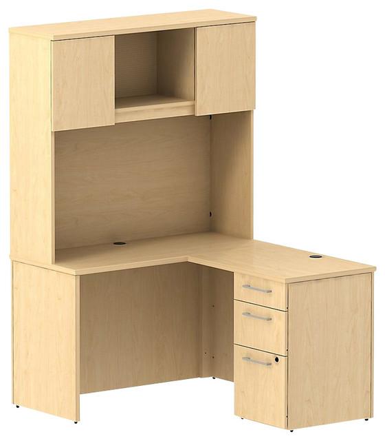 "Bush 300 Series 48"" L-Shape Desk with 2-Door Hutch in Natural Maple transitional-desks"