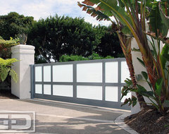 Modern Style Driveway Gate With Automatic Motors Built in Steel & Frosted Glass! modern-garage-doors-and-openers